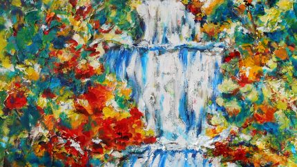 Free Fall Waterfall Acrylic Painting
