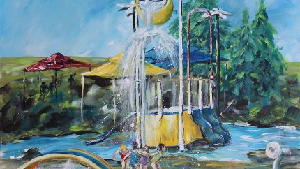 "Splash Park - Acrylic on Canvas - 36"" x 24"" - $575"